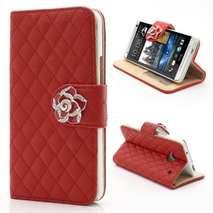 Diamond Flower Rhombus Card Slots Wallet Leather Stand Case for HTC One M7 801e - Red