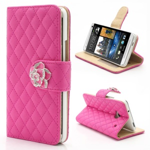 Diamond Flower Rhombus Card Slots Wallet Leather Stand Case for HTC One M7 801e - Rose