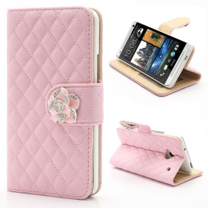 Diamond Flower Rhombus Card Slots Wallet Leather Stand Case for HTC One M7 801e - Pink