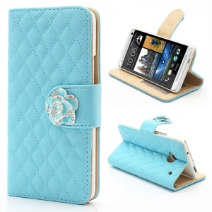 Diamond Flower Rhombus Card Slots Wallet Leather Stand Case for HTC One M7 801e - Blue