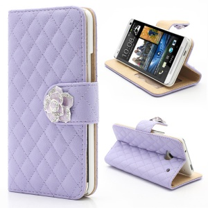 Diamond Flower Rhombus Card Slots Wallet Leather Stand Case for HTC One M7 801e - Purple