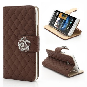 Diamond Flower Rhombus Card Slots Wallet Leather Stand Case for HTC One M7 801e - Brown