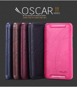 KLD Oscar II Series Leather Case w/ Card Slot Stand for HTC One M7 801e
