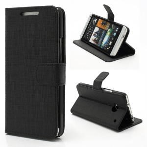 Staggered Texture Leather Wallet Case Cover for HTC One M7 801e - Black