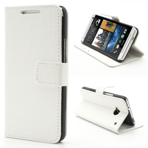 Staggered Texture Leather Wallet Case Cover for HTC One M7 801e - White