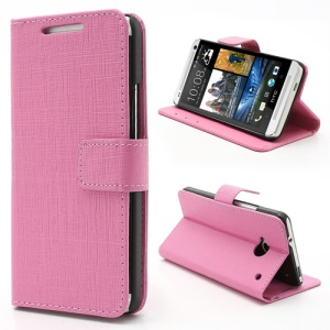 Staggered Texture Leather Wallet Case w/ Stand for HTC One M7 801e - Pink