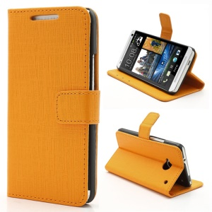 Staggered Texture Leather Wallet Case w/ Stand for HTC One M7 801e - Orange