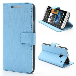 Staggered Texture Leather Wallet Case w/ Stand for HTC One M7 801e - Blue