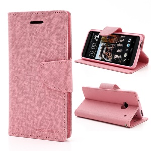 Mercury Goospery Fancy Diary Leather Case Stand for HTC One M7 801e - Pink