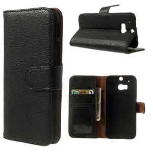 Lychee Leather Skin Wallet Stand Case for HTC One M8 - Black