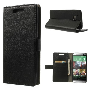Black Lychee Leather Wallet Case for HTC One M8 w/ Bracket Stand