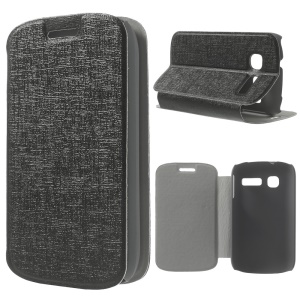 Black Oracle Grain Leather Stand Cover for Alcatel One Touch Pop C1 OT-4015A OT-4015N OT-4015D OT-4015X
