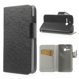 Black for Alcatel One Touch MPOP OT5020D 5020 Silk Leather Diary Stand Cover