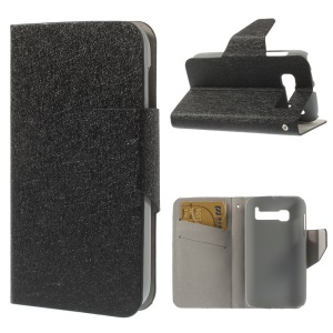 Black Silk Texture Leather Stand Case for Alcatel One Touch Pop C5 OT-5036A OT-5036D OT-5036X OT-5037A OT-5037E OT-5037X