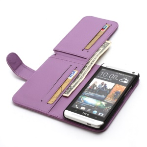 Multiple Card Slots Crazy Horse Leather Wallet Cover Stand for HTC One M7 801e - Purple