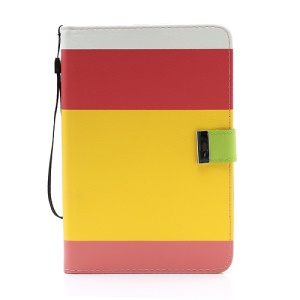 Multi Color Leather Wallet Stand Cover for Samsung Galaxy Tab 7.0 P6200 P6210 P3100 P3110 - Red / Yellow/ Pink