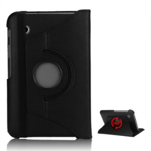 Folio Rotating Leather Stand Case for Samsung Galaxy Tab2 7.0 P3100 P3110 - Black
