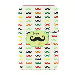 For Samsung Galaxy Tab 3 7.0 P3200 Rotary Stand Leather Smart Cover - Colored Mustaches