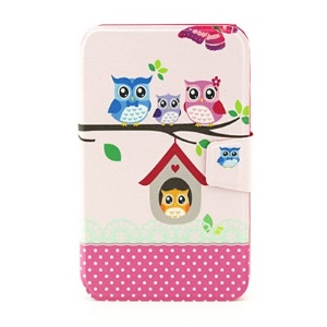 Rotary Stand Smart Flip Leather Cover for Samsung Galaxy Tab 3 7.0 P3200 - The Owl Family