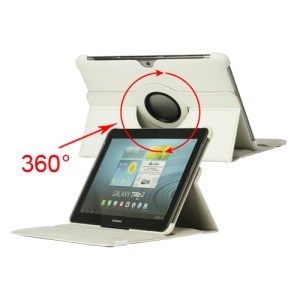 360 Degree Rotary Leather Case for Samsung Galaxy Tab 2 10.1 P5100 P5110 - White