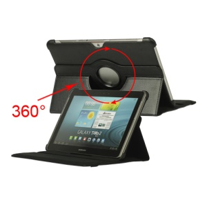 360 Degree Rotary Leather Case for Samsung Galaxy Tab 2 10.1 P5100 P5110 P7510 - Black