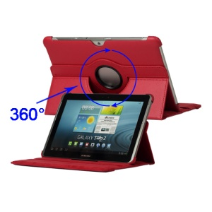 360 Degree Rotary Leather Case for Samsung Galaxy Tab 2 10.1 P5100 P5110 P7510- Red