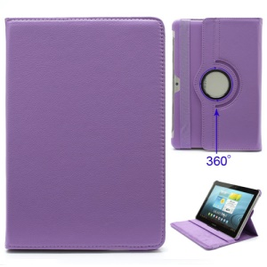 360 Degree Rotary Samsung Galaxy Tab P5100 P5110 P7510 P7500 Leather Case Cover w/ Stand - Purple