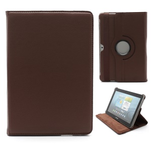 360 Degree Rotary Leather Case for Samsung Galaxy Tab 2 10.1 P5100 P5110 P7510 - Brown