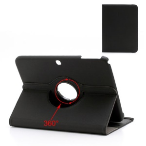 Black 360 Rotary Stand Cloth Leather Wallet Case for Samsung Galaxy Tab 3 10.1 P5200 P5210
