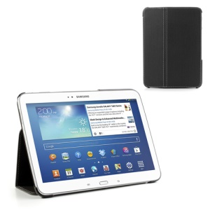 Black Twill Textured Smart Leather Stand Case for Samsung Galaxy Tab 3 10.1 P5200 P5210