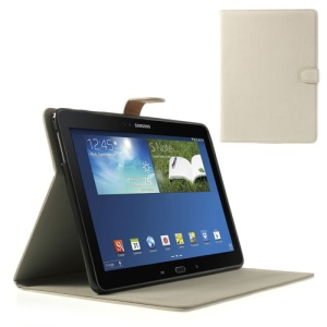 White Magnetic Squirrel Grain Leather Flip Case w/ Stand for Samsung Galaxy Tab Pro 10.1 T520 T525 P600