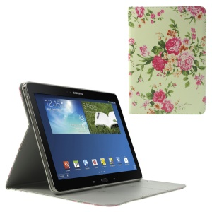 Pretty Roses Pattern Wallet Leather Flip Cover w/ Stand for Samsung Galaxy Tab Pro 10.1 P600 T520 T525