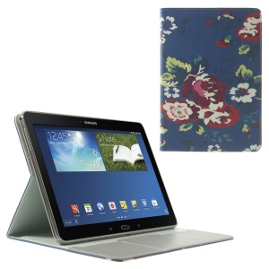 Charming Flowers Pattern Leather Flip Cover w/ Stand & Card Slots for Samsung Galaxy Tab Pro 10.1 P600 T520 T525
