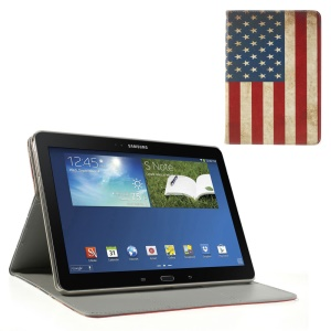 For Samsung Galaxy Tab Pro 10.1 P600 T520 T525 Wallet Leather Skin Cover Stand Retro USA Flag Pattern