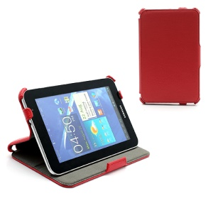 Premium Folio Stand Leather Case for Samsung Galaxy Tab 7.0 Plus P6200 P6210 P3100 P3110 - Red