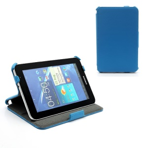 Premium Folio Stand Leather Case for Samsung Galaxy Tab 7.0 Plus P6200 P6210 P3100 P3110 - Blue