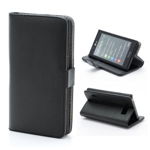 Litchi Grain Wallet Style Folio Leather Stand Holder Case for LG Optimus L7 P700 P705 - Black