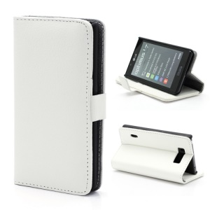 Litchi Grain Wallet Style Folio Leather Stand Holder Case for LG Optimus L7 P700 P705 - White