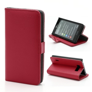 Litchi Grain Wallet Style Folio Leather Stand Holder Case for LG Optimus L7 P700 P705 - Red