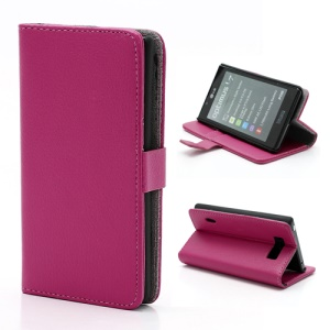Litchi Grain Wallet Style Folio Leather Stand Holder Case for LG Optimus L7 P700 P705 - Rose