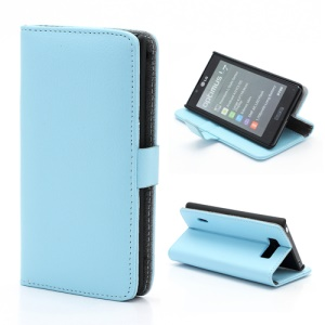 Litchi Grain Wallet Style Folio Leather Stand Holder Case for LG Optimus L7 P700 P705 - Baby Blue