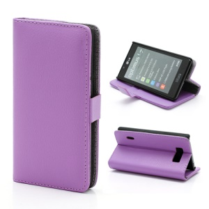 Litchi Grain Wallet Style Folio Leather Stand Holder Case for LG Optimus L7 P700 P705 - Purple
