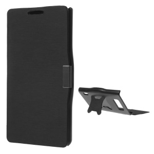 Cross Texture Brushed Leather Magnetic Case w/ Kickstand for LG Optimus L7 P700 P705 - Black