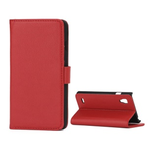 Lychee Leather Case with Folio Stand Wallet Function for LG Optimus L9 P760 P765 P768 - Red