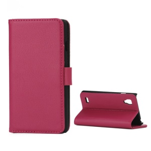Lychee Leather Case with Folio Stand Wallet Function for LG Optimus L9 P760 P765 P768 - Rose