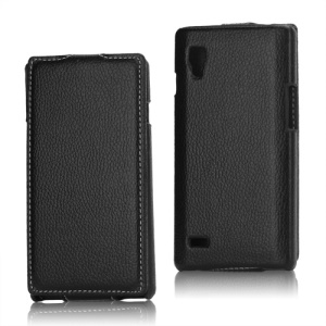 Vertical Lychee Leather Case for LG Optimus L9 P760 P765 P768 - Black