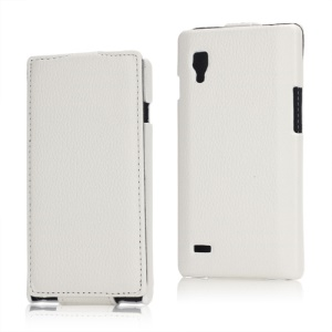 Vertical Lychee Leather Case for LG Optimus L9 P760 P765 P768 - White