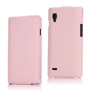 Vertical Lychee Leather Case for LG Optimus L9 P760 P765 P768 - Pink