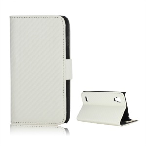 Carbon Fiber Diary Leather Stand Cover for LG Optimus L9 P760 P765 P768