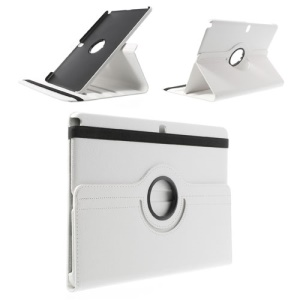 White for Samsung Galaxy Note Pro 12.2 P900 / Tab Pro 12.2 T900 Lychee Leather Shell w/ 360 Rotation Stand